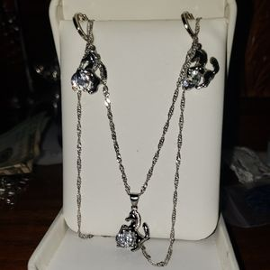 Sterling Silver Horse charm necklace W/ earings